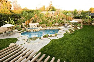 Tropical Backyard Pool Design Southern California Landscaping Lifescape Designs Simi Valley, CA