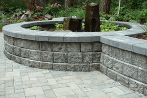 Block Wall, Gray, Water Feature, Pond Swimming Pool Woody's Custom Landscaping Inc Battle Ground, WA