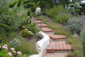 Brick Steps, Garden Steps Swimming Pool Maureen Gilmer Morongo Valley, CA