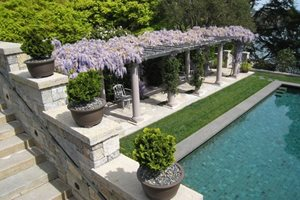 Mediterranean Pergola, Pergola Plants Swimming Pool Suzman Design Associates San Francisco, CA