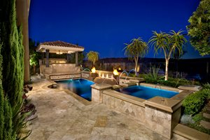 Raised Spa, Pool, Ramada Swimming Pool Alderete Pools Inc. San Clemente, CA