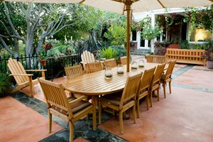 Stained Concrete Patio, Teak Patio Furniture Swimming Pool Landscaping Network Calimesa, CA