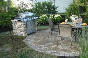 Stone Grill Swimming Pool S.A.T. Landscape Services Columbus, OH