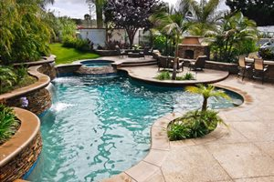 Freeform Swimming Pool Tropical Landscaping Oakbrook Landscape, Inc. Capistrano Beach, CA