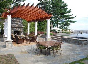Arched Pergola, Redwood Pergola Walkway and Path Walnut Hill Landscape Company Annapolis, MD