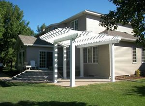 White Patio Cover Walkway and Path Signature Landscapes Inc. Fargo, ND