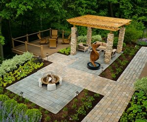 different paving defines outdoor rooms