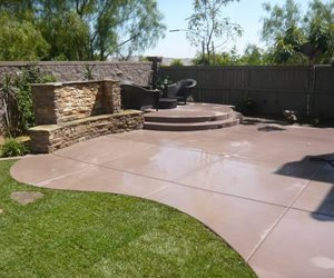 Colored Concrete Outdoor Kitchen Quality Living Landscape San Marcos, CA