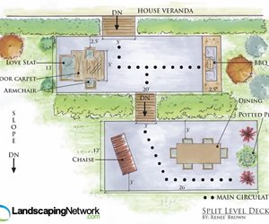Split Level Deck Drawing Outdoor Kitchen Landscaping Network Calimesa, CA