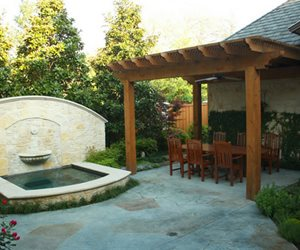 Fountain, Textured Concrete Swimming Pool Bonick Landscaping Dallas, TX