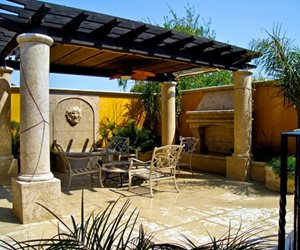 Pergola Columns, Mediterranean Pergola, Patio Pergola Walkway and Path LandPlan's Landscaping Pleasanton, CA