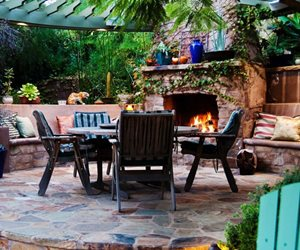 Custom Outdoor Fireplace, Outdoor Fireplace Seating Terry Design Inc Fullerton, CA