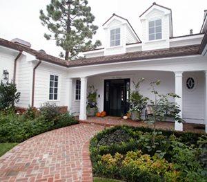 Curved Walkway, Red Brick Walkway, Herringbone Walkway Garden Studio Design Newport Beach, CA