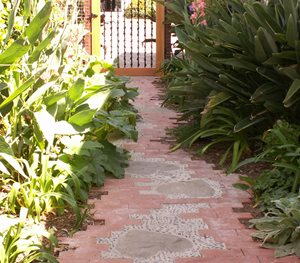 Custom Brick Path, Whimsical Brick Path, Heart Inlays Grace Design Associates Santa Barbara, CA