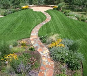 Flagstone, Walkway, Curved, Red Accent Landscapes Colorado Springs, CO