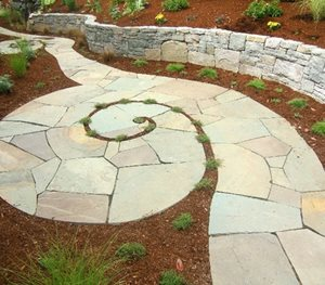 Spiraling Bluestone Walkway Beautiful Bones & Purple Stones Landscape Design Portland, OR