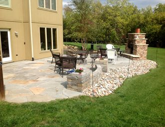 backyard flagstone patio backyard landscaping turf designers lees summit mo