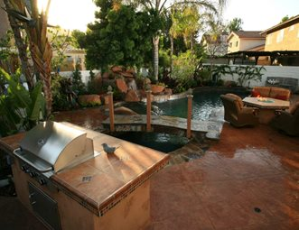 Backyard Living Space, Pool, Grill, Fire Pit Backyard Landscaping Lisa Cox Landscape  Design