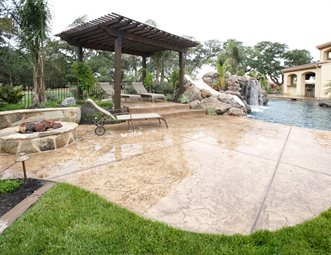 Stamped Concrete Pool Deck, Dark Brown Pergola Backyard Landscaping  Landscaping Network Calimesa, CA