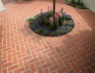 brick pattern herringbone brick patio landscaping network calimesa ca - Brick Patio Designs