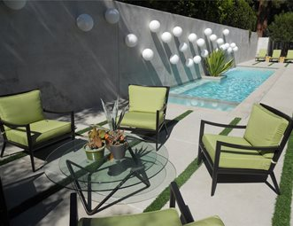 patio with water feature and lighting concrete patio landscaping network calimesa ca - Concrete Patio Designs