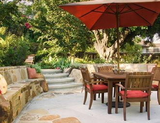 Stone Seat Wall, Dining Patio Concrete Patio Terry Design Inc Fullerton, CA