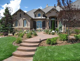 Informal Front Yard Colored Concrete Walkway Accent Landscapes Colorado Springs Co