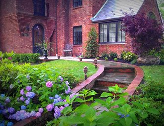 front entry landscaping entryways steps and courtyard design build landscape massapequa - Backyard Courtyard Designs