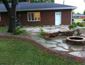 Backyard, Flagstone Patio, Fire Pit Fire Pit Altered Grounds Landscaping  Granite City, IL