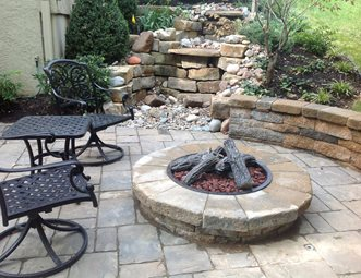 Steel Fire Pit Insert Faux Logs Turf Designers Lees Summit Mo