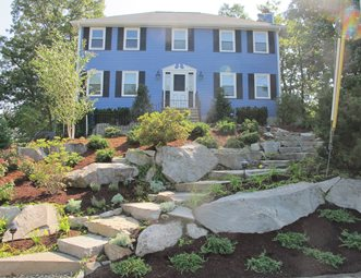 Landscaping Front Garden Front yard landscaping pictures gallery landscaping network sloping front yard granite boulders front yard landscaping olde new england granite lynnfield ma workwithnaturefo