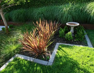 Ornamental Grasses, Bird Bath Garden Design Lisa Cox Landscape Design  Solvang, CA