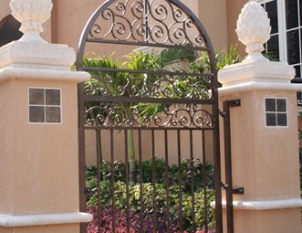 Wrought Iron Gate, Stucco Pillars Gates And Fencing Landscaping Network  Calimesa, CA