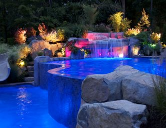 Infinity Edge Pool, Pool Lighting Lighting Cipriano Landscape Design  Mahwah, NJ