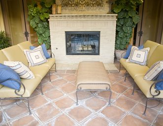 Mediterranean Fireplace Terra Cotta Patio Landscaping Network Calimesa Ca