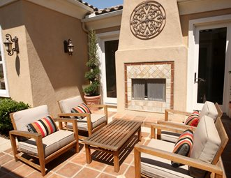 Southwest Patio Fireplace Stucco Tile Mediterranean Landscaping Network Calimesa Ca