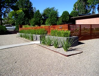 modern front yard landscape modern landscaping red twig studio albuquerque nm