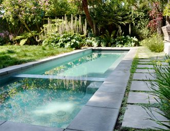 Lap Pool, Spa Modern Pool Landscaping Network Calimesa, CA