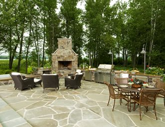Backyard Stone Fireplace Outdoor Lake Street Design Studio Petoskey Mi