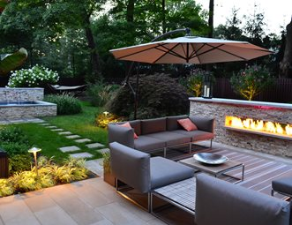 Outdoor Fireplace Cipriano Landscape Design Mahwah, NJ