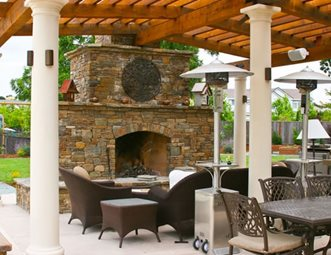 Fireplace Patio Cover Outdoor Fireplace LandPlanu0027s Landscaping Pleasanton,  ...