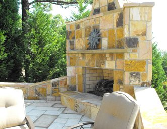 Large Stone Fireplace, Yellow Outdoor Fireplace The Nelson Team Leeds, AL
