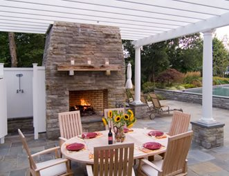 Shade For Outdoor Fireplace Outdoor Fireplace Walnut Hill Landscape Company  Annapolis, MD