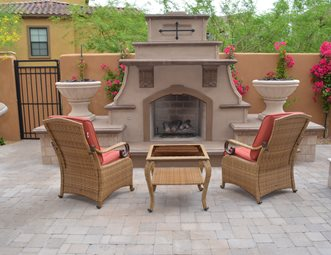 Southwestern Fireplace Short Outdoor Fireplace Outdoor Fireplace Lone Star Landscaping Phoenix Az