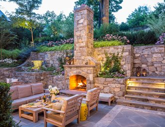 Wood Burning Outdoor Fireplace, Terracing Outdoor Fireplace Botanical  Decorators Olney, MD