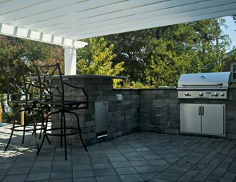 Backyard Kitchen, Built In Bbq, Gray Block Outdoor Kitchen Mid Atlantic  Enterprise Inc Williamsburg