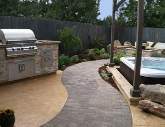 Curved Paver Path, Built In Grill Outdoor Kitchen The Garden Artist, LLC  Boise,