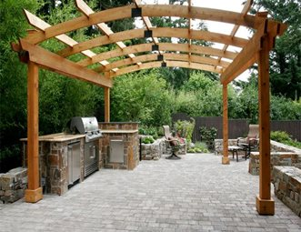Outdoor Cooking Area, Arched Pergola Outdoor Kitchen All Oregon Landscaping  Inc Sherwood, OR