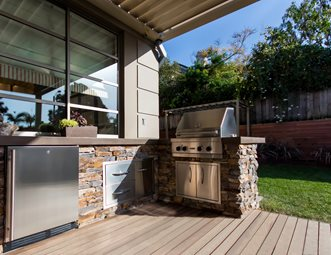 bbq outdoor kitchen designs. Stacked Stone Outdoor Kitchen  Four Burner Grill Studio H Landscape Architecture Newport Beach Pictures Gallery Landscaping Network