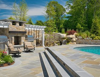 Stainless Grills, Stone Fireplace Outdoor Kitchen Yard Boss Landscape Design  LLC Mattapoisett, MA